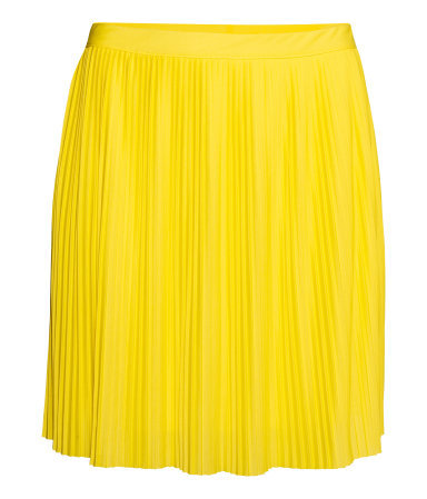 + Pleated Skirt - length: mid thigh; pattern: plain; fit: loose/voluminous; style: pleated; waist: high rise; predominant colour: yellow; occasions: evening, creative work; fibres: polyester/polyamide - 100%; hip detail: adds bulk at the hips; waist detail: feature waist detail; pattern type: fabric; texture group: jersey - stretchy/drapey; trends: hot brights; season: s/s 2014