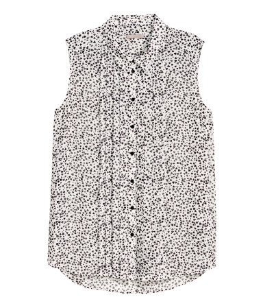 + Sleeveless Blouse - neckline: shirt collar/peter pan/zip with opening; sleeve style: sleeveless; length: below the bottom; style: tunic; bust detail: subtle bust detail; predominant colour: white; secondary colour: black; occasions: casual, evening, creative work; fibres: polyester/polyamide - 100%; fit: body skimming; sleeve length: sleeveless; pattern type: fabric; pattern: patterned/print; texture group: other - light to midweight; season: s/s 2014; wardrobe: highlight