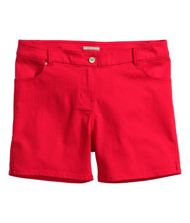 + Twill Shorts - pattern: plain; pocket detail: traditional 5 pocket; waist: mid/regular rise; predominant colour: true red; occasions: casual, holiday, creative work; fibres: cotton - stretch; texture group: cotton feel fabrics; pattern type: fabric; season: s/s 2014; style: shorts; length: short shorts; fit: slim leg