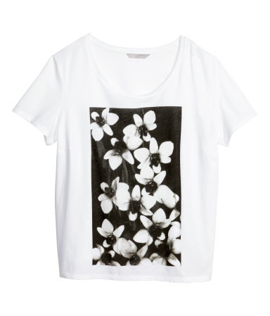 + T Shirt With A Print - length: below the bottom; style: t-shirt; predominant colour: white; secondary colour: black; occasions: casual; neckline: scoop; fibres: polyester/polyamide - 100%; fit: loose; sleeve length: short sleeve; sleeve style: standard; pattern type: fabric; pattern size: standard; pattern: florals; texture group: jersey - stretchy/drapey; season: s/s 2014