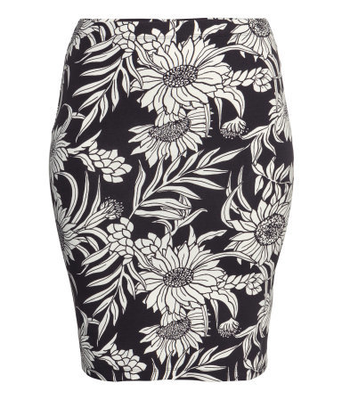 + Pencil Skirt - length: mid thigh; style: pencil; fit: tight; waist: mid/regular rise; secondary colour: white; predominant colour: black; occasions: casual, evening, creative work; fibres: cotton - stretch; pattern type: fabric; pattern: florals; texture group: jersey - stretchy/drapey; trends: furious florals, monochrome; season: s/s 2014; pattern size: big & busy (bottom)
