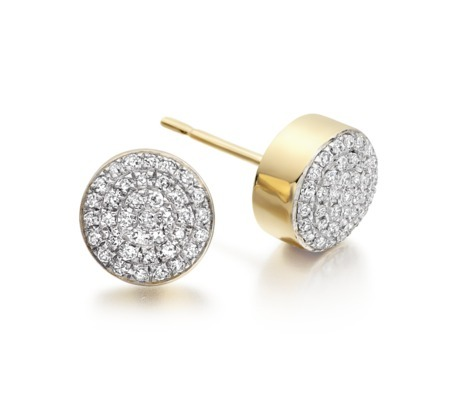 Gold Vermeil Ava Button Stud Earrings Diamond - predominant colour: gold; occasions: evening, work, occasion; style: stud; length: short; size: small/fine; material: chain/metal; fastening: pierced; finish: metallic; embellishment: crystals/glass; secondary colour: clear; season: s/s 2014