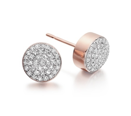 Rose Gold Vermeil Ava Button Stud Earrings Diamond - predominant colour: silver; occasions: evening, work, occasion; style: stud; length: short; size: small/fine; material: chain/metal; fastening: pierced; finish: metallic; embellishment: crystals/glass; season: s/s 2014