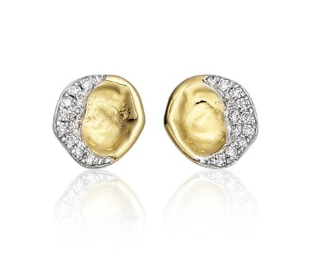 Gold Vermeil Riva Diamond Shore Stud Earring Diamond - secondary colour: silver; predominant colour: gold; occasions: evening, occasion, creative work; style: stud; length: short; size: standard; material: chain/metal; fastening: pierced; finish: metallic; embellishment: crystals/glass; season: s/s 2014