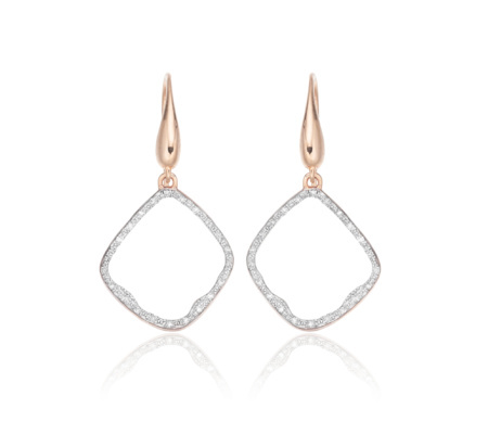 Riva Diamond Hoop Earrings, Rose Gold Vermeil On Silver - secondary colour: silver; predominant colour: gold; occasions: evening, occasion; style: hoop; length: mid; size: standard; material: chain/metal; fastening: pierced; finish: metallic; embellishment: crystals/glass; season: s/s 2014