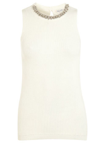 Embellished Neck Trim Vest - neckline: round neck; pattern: plain; sleeve style: sleeveless; length: below the bottom; predominant colour: ivory/cream; occasions: casual, creative work; style: top; fibres: acrylic - mix; fit: body skimming; back detail: keyhole/peephole detail at back; sleeve length: sleeveless; texture group: knits/crochet; pattern type: knitted - fine stitch; embellishment: jewels/stone; season: s/s 2014; wardrobe: highlight