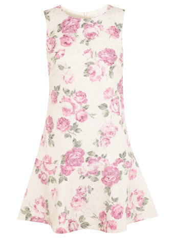 Floral Trumpet Hem Dress - style: shift; length: mid thigh; sleeve style: sleeveless; secondary colour: ivory/cream; predominant colour: pink; fit: soft a-line; fibres: cotton - mix; occasions: occasion; neckline: crew; sleeve length: sleeveless; pattern type: fabric; pattern size: standard; pattern: florals; texture group: other - light to midweight; season: s/s 2014