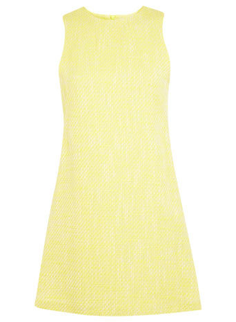 Yellow Boucle Shift Dress - style: shift; length: mid thigh; pattern: plain; sleeve style: sleeveless; predominant colour: primrose yellow; fit: soft a-line; fibres: cotton - mix; occasions: occasion; neckline: crew; sleeve length: sleeveless; pattern type: fabric; texture group: tweed - light/midweight; trends: sorbet shades; season: s/s 2014