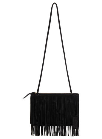 Black Suede Fringe Bag - predominant colour: black; type of pattern: standard; style: shoulder; length: across body/long; size: standard; material: suede; embellishment: fringing; pattern: plain; finish: plain; occasions: creative work; season: s/s 2014