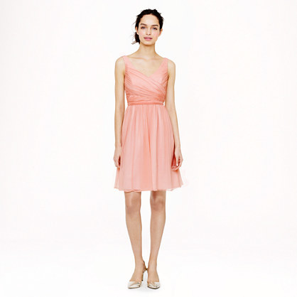 Petite Heidi Dress In Silk Chiffon - neckline: low v-neck; pattern: plain; sleeve style: sleeveless; waist detail: fitted waist; bust detail: ruching/gathering/draping/layers/pintuck pleats at bust; predominant colour: blush; occasions: evening, occasion; length: just above the knee; fit: fitted at waist & bust; style: fit & flare; fibres: silk - 100%; hip detail: soft pleats at hip/draping at hip/flared at hip; sleeve length: sleeveless; texture group: sheer fabrics/chiffon/organza etc.; season: s/s 2014