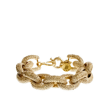 Classic Pavé Link Bracelet - predominant colour: gold; occasions: evening, occasion; style: chain; size: standard; material: chain/metal; finish: metallic; embellishment: crystals/glass; season: s/s 2014