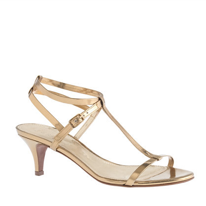 Greta Metallic Sandals - predominant colour: gold; occasions: evening, occasion; material: leather; heel height: mid; ankle detail: ankle strap; heel: kitten; toe: open toe/peeptoe; style: standard; finish: metallic; pattern: plain; season: s/s 2014