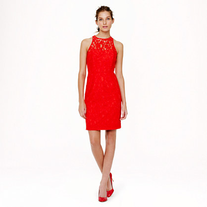 Pamela Dress In Leavers Lace - style: shift; length: mid thigh; fit: tailored/fitted; sleeve style: sleeveless; predominant colour: true red; occasions: evening, occasion; fibres: nylon - mix; neckline: crew; sleeve length: sleeveless; texture group: lace; pattern type: fabric; pattern: patterned/print; trends: hot brights, lace; season: s/s 2014