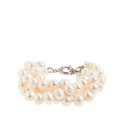 Freshwater Pearl Hammock Bracelet - predominant colour: ivory/cream; occasions: evening, occasion; size: large/oversized; material: plastic/rubber; finish: plain; embellishment: pearls; season: s/s 2014; style: bead