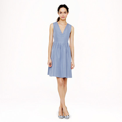 Sophie Dress In Classic Faille - neckline: v-neck; pattern: plain; sleeve style: sleeveless; predominant colour: pale blue; occasions: casual, evening, occasion, creative work; length: just above the knee; fit: fitted at waist & bust; style: fit & flare; fibres: cotton - mix; hip detail: subtle/flattering hip detail; sleeve length: sleeveless; texture group: cotton feel fabrics; pattern type: fabric; trends: sorbet shades; season: s/s 2014
