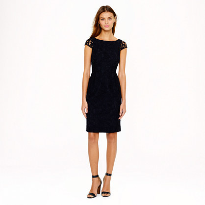 Elsa Dress In Leavers Lace - style: shift; neckline: slash/boat neckline; sleeve style: capped; fit: tailored/fitted; back detail: back revealing; predominant colour: black; secondary colour: black; occasions: evening, work, occasion; length: just above the knee; fibres: cotton - mix; sleeve length: short sleeve; texture group: lace; pattern type: fabric; pattern: patterned/print; embellishment: lace; trends: lace; season: s/s 2014