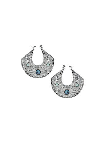Engraved Earrings - predominant colour: silver; occasions: casual, evening, occasion; style: drop; length: mid; size: standard; material: chain/metal; fastening: pierced; finish: plain; embellishment: jewels/stone; secondary colour: pewter; season: s/s 2014