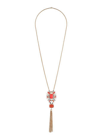Chain Tassel Stone Necklace - secondary colour: bright orange; predominant colour: gold; occasions: casual, evening, creative work; style: pendant; length: long; size: standard; material: chain/metal; finish: plain; embellishment: tassels; season: s/s 2014