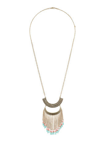 Double Curved Bar Necklace - predominant colour: gold; occasions: casual, holiday, creative work; style: pendant; length: long; size: standard; material: chain/metal; finish: metallic; embellishment: chain/metal; season: s/s 2014