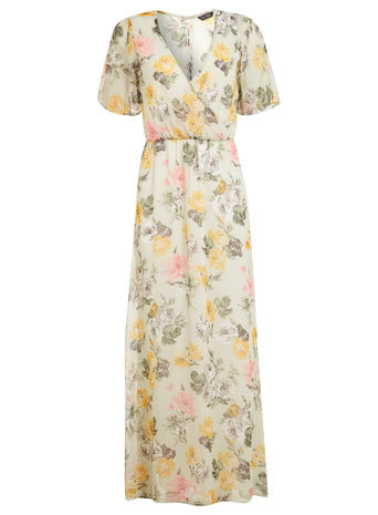 Chiffon Printed Maxi Dress - neckline: low v-neck; style: maxi dress; length: ankle length; occasions: casual, occasion; fit: fitted at waist & bust; fibres: polyester/polyamide - 100%; predominant colour: multicoloured; sleeve length: short sleeve; sleeve style: standard; texture group: sheer fabrics/chiffon/organza etc.; pattern type: fabric; pattern size: standard; pattern: florals; trends: furious florals; season: s/s 2014; multicoloured: multicoloured