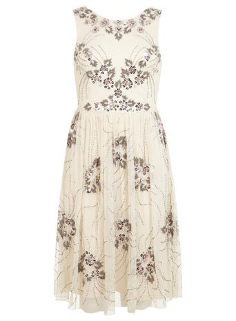 Cream Embellished Prom Dress - neckline: round neck; pattern: plain; sleeve style: sleeveless; style: prom dress; predominant colour: ivory/cream; occasions: evening, occasion; length: just above the knee; fit: fitted at waist & bust; fibres: polyester/polyamide - 100%; hip detail: soft pleats at hip/draping at hip/flared at hip; sleeve length: sleeveless; texture group: sheer fabrics/chiffon/organza etc.; pattern type: fabric; embellishment: beading; trends: summer sparkle; season: s/s 2014