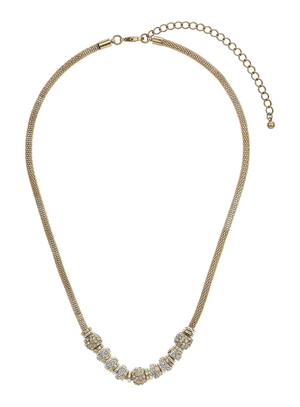 Crystal And Mesh Necklace - secondary colour: silver; predominant colour: gold; occasions: evening, work, occasion; length: mid; size: standard; material: chain/metal; finish: metallic; embellishment: crystals/glass; season: s/s 2014; style: chain (no pendant)
