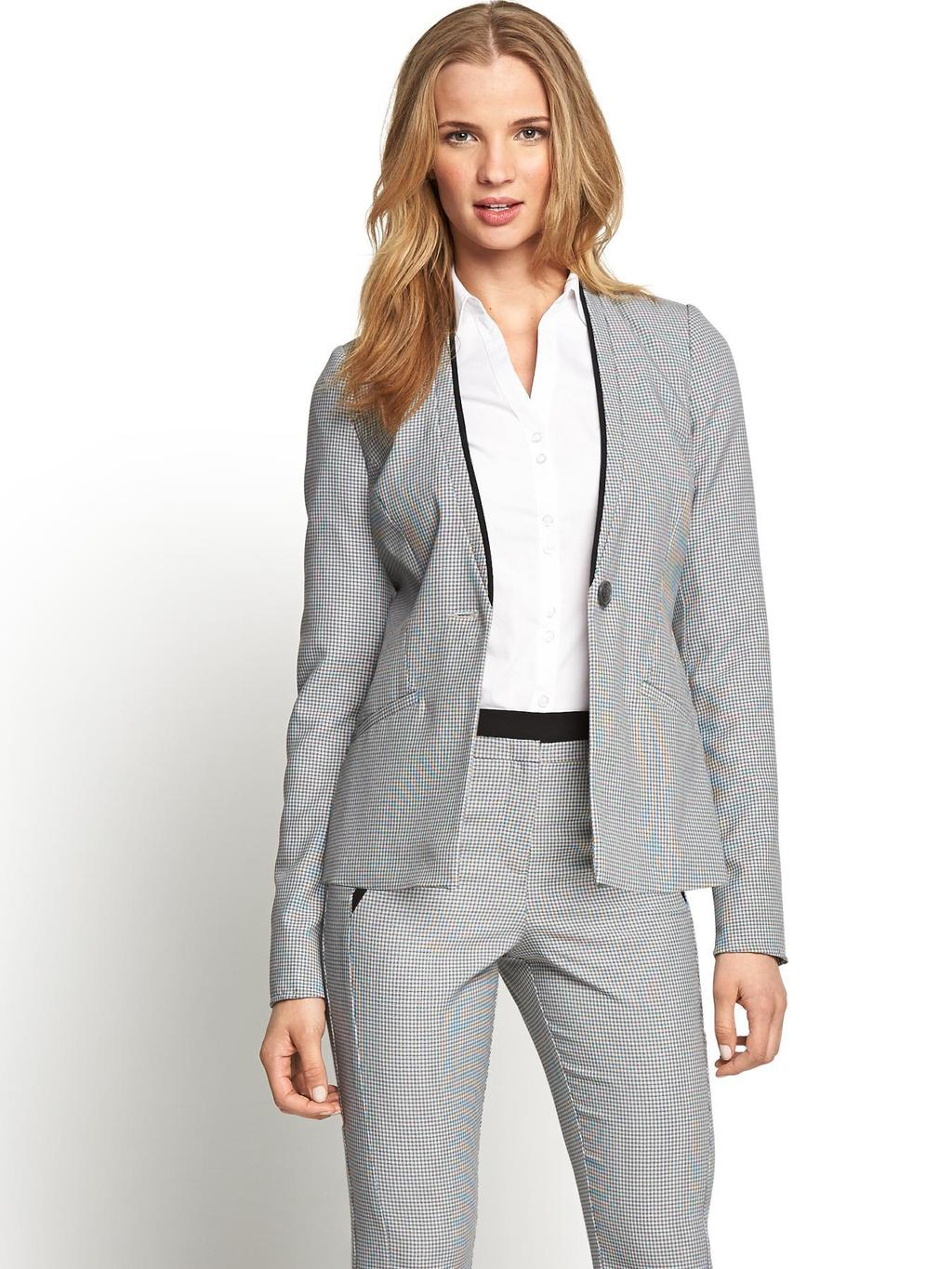 Textured Fashion Jacket, Grey - pattern: plain; style: single breasted blazer; collar: standard lapel/rever collar; predominant colour: light grey; secondary colour: black; occasions: work, creative work; length: standard; fit: tailored/fitted; fibres: polyester/polyamide - stretch; sleeve length: long sleeve; sleeve style: standard; collar break: low/open; pattern type: fabric; texture group: woven light midweight; season: s/s 2014