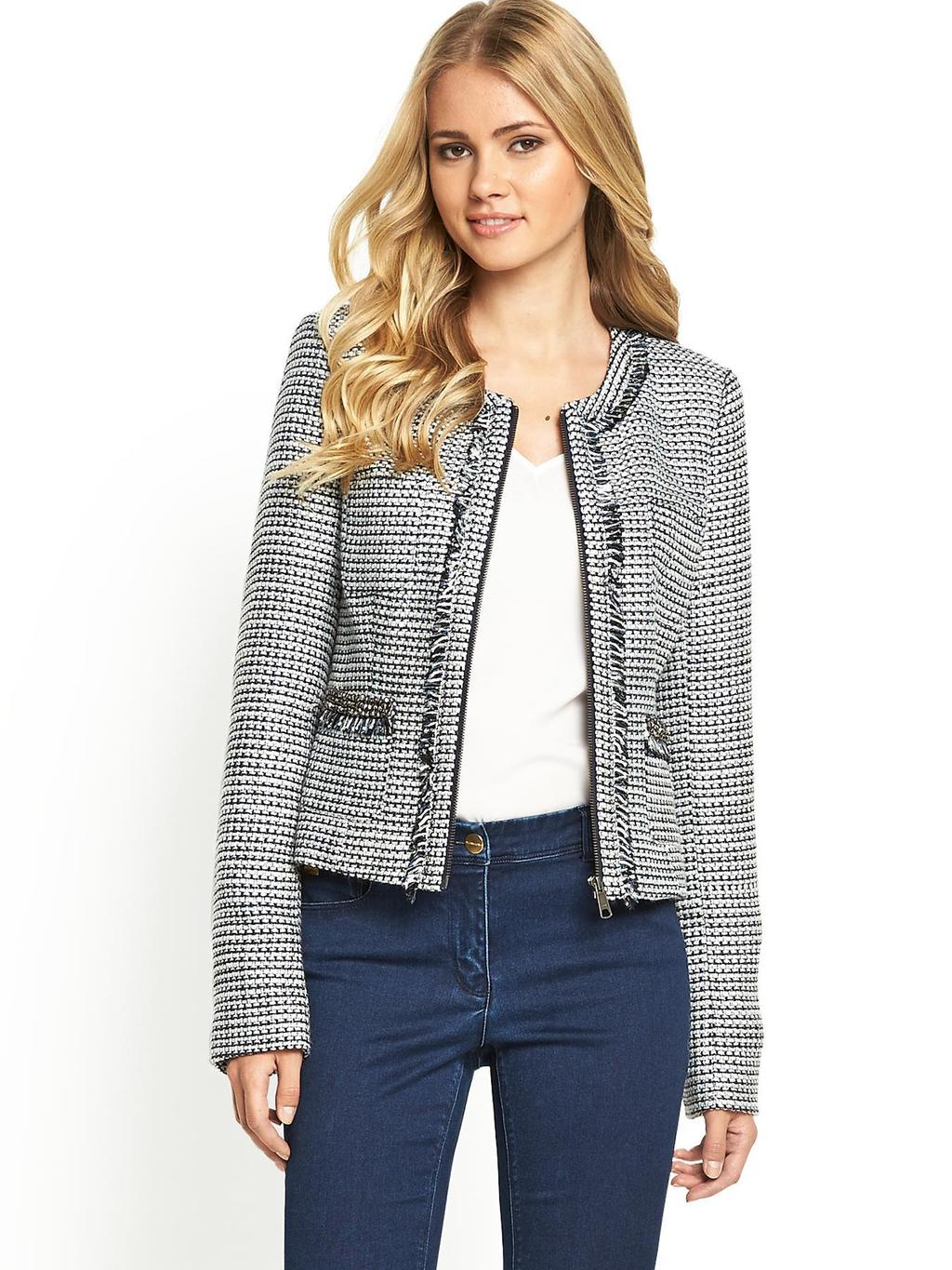Boucle Jacket, Navy - style: single breasted blazer; collar: round collar/collarless; pattern: herringbone/tweed; predominant colour: navy; occasions: evening, work, creative work; length: standard; fit: tailored/fitted; fibres: polyester/polyamide - 100%; sleeve length: long sleeve; sleeve style: standard; collar break: low/open; pattern type: fabric; pattern size: standard; texture group: tweed - light/midweight; season: s/s 2014