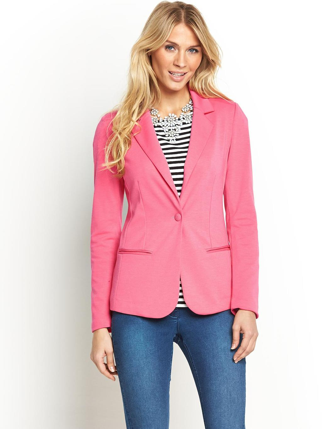 Jersey Blazer, Black - pattern: plain; style: single breasted blazer; collar: standard lapel/rever collar; predominant colour: pink; occasions: casual, evening, creative work; length: standard; fit: tailored/fitted; fibres: polyester/polyamide - stretch; sleeve length: long sleeve; sleeve style: standard; collar break: medium; pattern type: fabric; texture group: woven light midweight; trends: sorbet shades; season: s/s 2014
