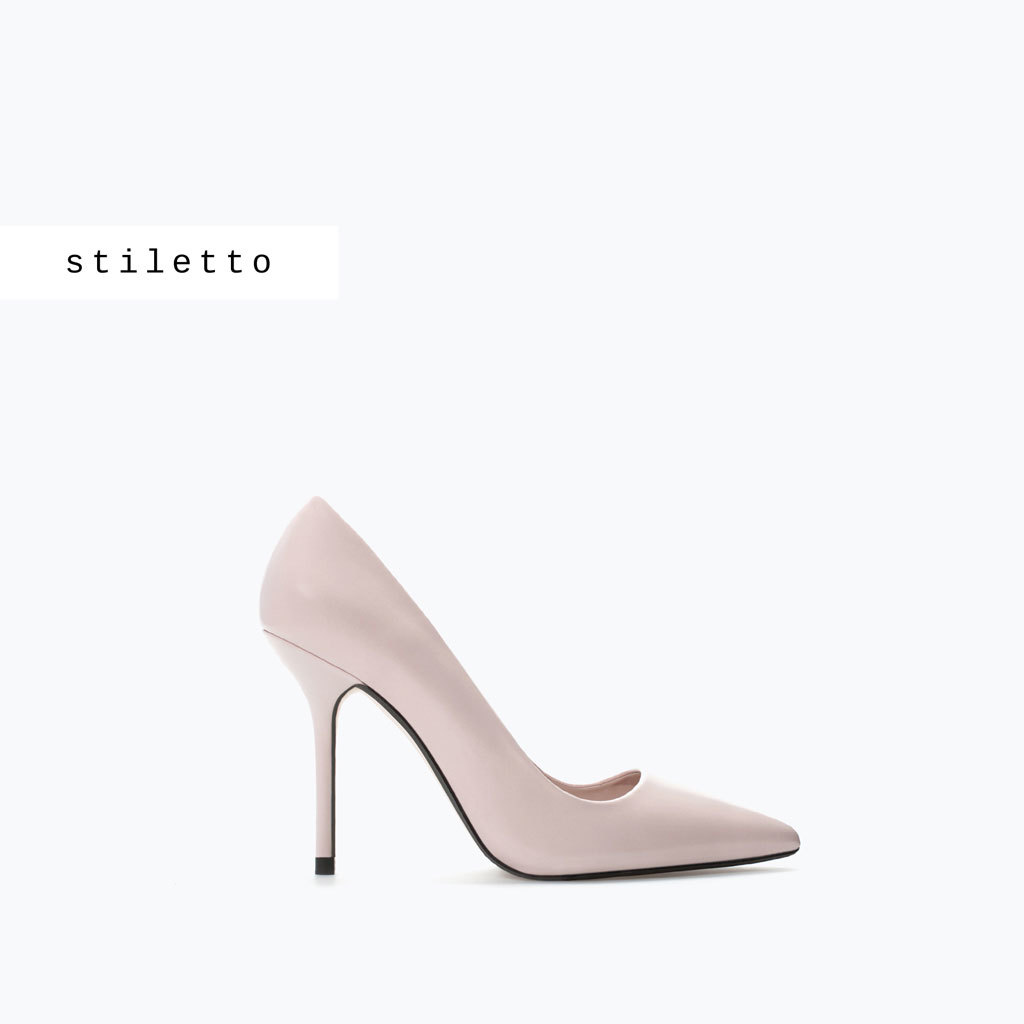 Leather Court Shoe - predominant colour: blush; occasions: evening, occasion; material: leather; heel height: high; heel: stiletto; toe: pointed toe; style: courts; finish: plain; pattern: plain; trends: sorbet shades; season: s/s 2014