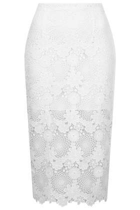 Lace Pencil Skirt - length: below the knee; style: pencil; fit: tailored/fitted; waist: mid/regular rise; predominant colour: white; secondary colour: white; occasions: evening, work, occasion; fibres: polyester/polyamide - 100%; texture group: lace; pattern type: fabric; pattern: patterned/print; embellishment: lace; trends: sorbet shades, lace; season: s/s 2014; pattern size: light/subtle (bottom)