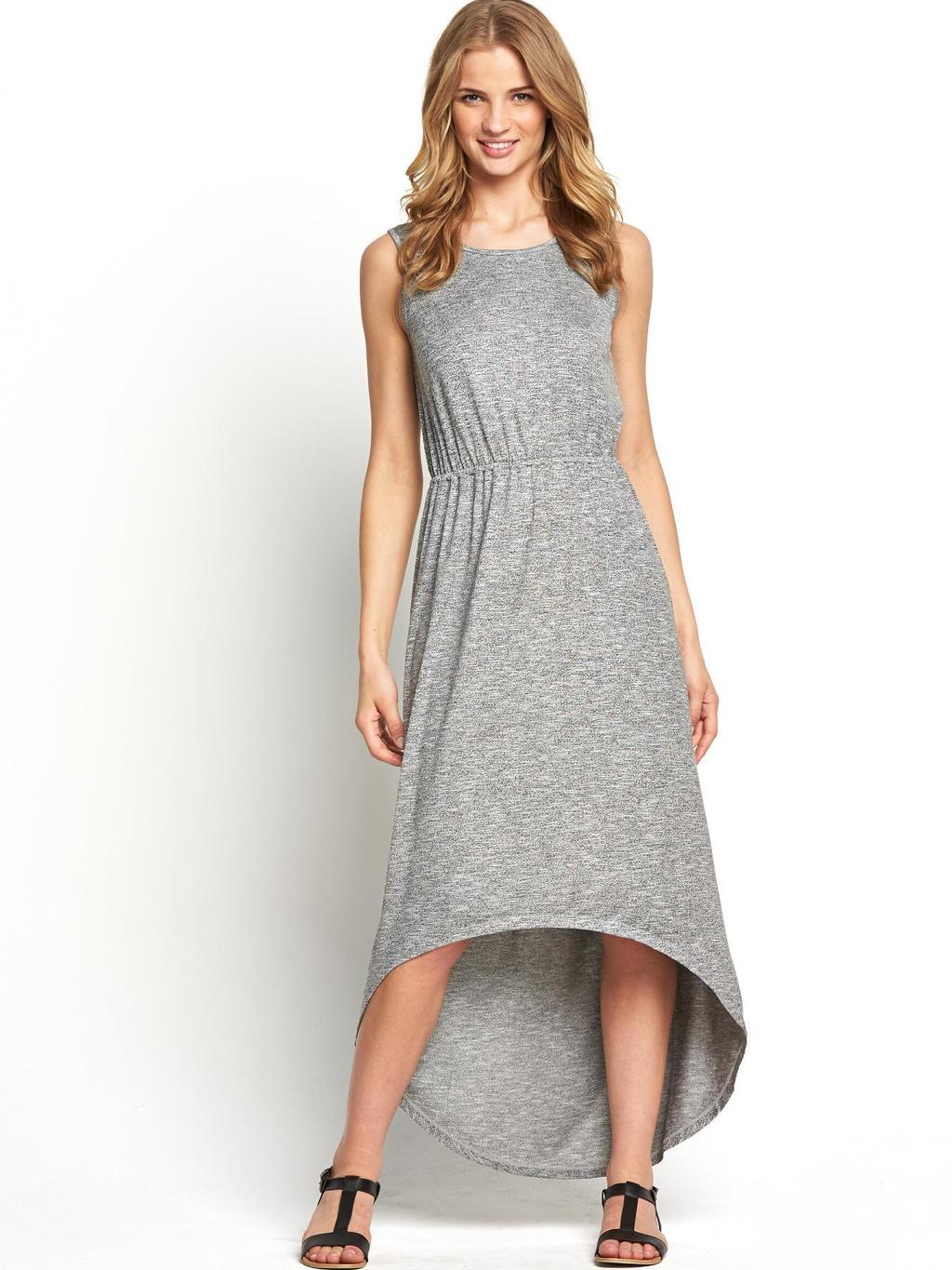 High Low Hem Maxi Dress, Black - length: below the knee; neckline: round neck; sleeve style: sleeveless; secondary colour: mid grey; predominant colour: light grey; occasions: casual; fit: body skimming; style: asymmetric (hem); fibres: viscose/rayon - stretch; back detail: longer hem at back than at front; sleeve length: sleeveless; pattern type: fabric; texture group: jersey - stretchy/drapey; season: s/s 2014; pattern: marl; wardrobe: basic