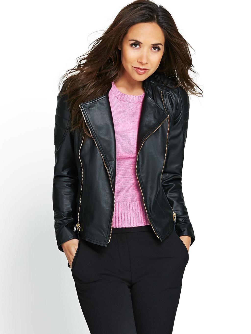 Gold Trim Leather Biker Jacket, Black - pattern: plain; style: biker; collar: asymmetric biker; fit: slim fit; predominant colour: black; occasions: casual, evening; length: standard; fibres: leather - 100%; sleeve length: long sleeve; sleeve style: standard; texture group: leather; collar break: medium; pattern type: fabric; season: s/s 2014