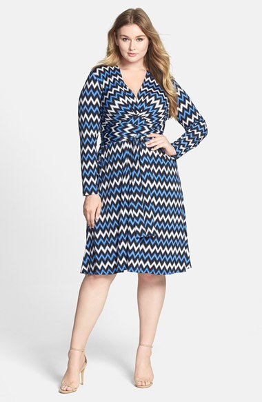 Chevron Print Faux Wrap Dress (Plus Size) - style: faux wrap/wrap; neckline: low v-neck; waist detail: belted waist/tie at waist/drawstring; secondary colour: white; predominant colour: diva blue; length: on the knee; fit: fitted at waist & bust; fibres: polyester/polyamide - stretch; sleeve length: long sleeve; sleeve style: standard; pattern type: fabric; pattern size: big & busy; pattern: patterned/print; texture group: jersey - stretchy/drapey; occasions: creative work; season: s/s 2014