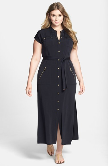 Cap Sleeve Matte Jersey Maxi Shirtdress (Plus Size) - sleeve style: capped; pattern: plain; style: maxi dress; length: ankle length; hip detail: draws attention to hips; waist detail: belted waist/tie at waist/drawstring; bust detail: subtle bust detail; predominant colour: navy; occasions: casual, creative work; fit: body skimming; neckline: collarstand; fibres: polyester/polyamide - stretch; sleeve length: short sleeve; pattern type: fabric; texture group: jersey - stretchy/drapey; season: s/s 2014; wardrobe: basic; embellishment location: hip