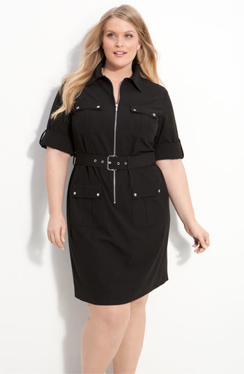 Shirtdress (Plus Size) - style: shirt; length: mid thigh; neckline: shirt collar/peter pan/zip with opening; fit: tailored/fitted; pattern: plain; waist detail: belted waist/tie at waist/drawstring; predominant colour: black; occasions: casual, creative work; fibres: polyester/polyamide - stretch; hip detail: subtle/flattering hip detail; sleeve length: short sleeve; sleeve style: standard; pattern type: fabric; texture group: woven light midweight; season: s/s 2014