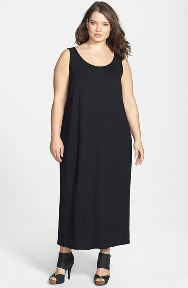 Scoop Neck Dress (Plus Size) - sleeve style: standard vest straps/shoulder straps; fit: loose; pattern: plain; length: ankle length; style: vest; predominant colour: black; occasions: casual; neckline: scoop; fibres: viscose/rayon - stretch; sleeve length: sleeveless; pattern type: fabric; texture group: jersey - stretchy/drapey; season: s/s 2014