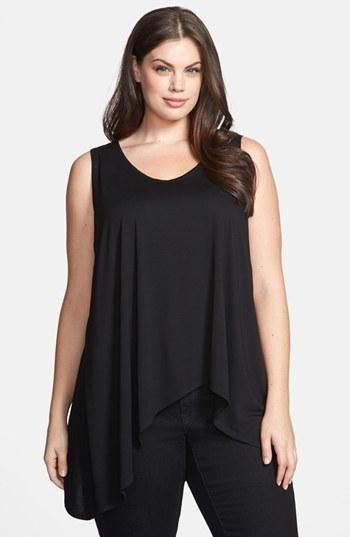 Scoop Neck Tank With Asymmetric Hem (Plus Size) - pattern: plain; sleeve style: sleeveless; length: below the bottom; predominant colour: black; occasions: casual, evening, creative work; style: top; neckline: scoop; fibres: viscose/rayon - stretch; fit: loose; sleeve length: sleeveless; pattern type: fabric; texture group: jersey - stretchy/drapey; season: s/s 2014