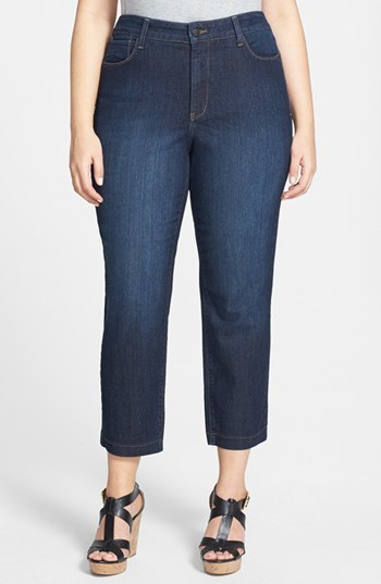 'audrey' Stretch Ankle Jeans (Cypress Wash) (Plus Size) - style: straight leg; length: standard; pattern: plain; pocket detail: traditional 5 pocket; waist: mid/regular rise; predominant colour: navy; occasions: casual, evening, creative work; fibres: cotton - stretch; jeans detail: dark wash; texture group: denim; pattern type: fabric; season: s/s 2014