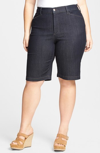 'arya' Denim Shorts (Plus Size) - pattern: plain; pocket detail: traditional 5 pocket; waist: mid/regular rise; predominant colour: navy; occasions: casual, evening, holiday; fibres: cotton - stretch; texture group: denim; pattern type: fabric; season: s/s 2014; style: denim; length: on the knee; fit: slim leg