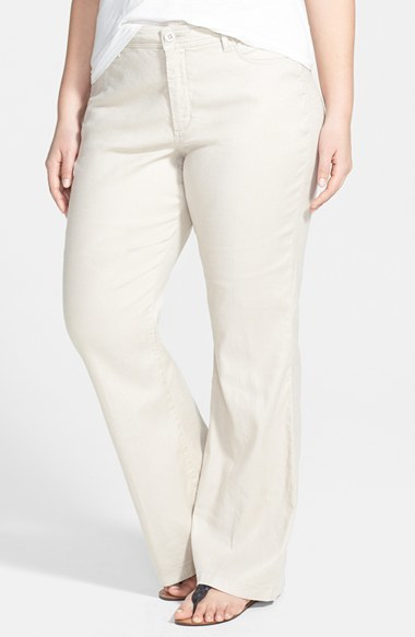 'wylie' Stretch Linen Trousers (Plus Size) - length: standard; pattern: plain; pocket detail: traditional 5 pocket; waist: mid/regular rise; predominant colour: ivory/cream; occasions: casual, evening, creative work; texture group: linen; fit: wide leg; pattern type: fabric; style: standard; fibres: linen - stretch; trends: sorbet shades; season: s/s 2014