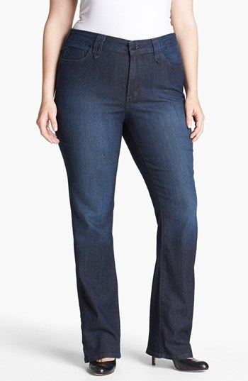 'hayden' Stretch Straight Leg Jeans (Burbank) (Plus Size) - style: bootcut; length: standard; pattern: plain; pocket detail: traditional 5 pocket; waist: mid/regular rise; predominant colour: navy; occasions: casual, evening, creative work; fibres: cotton - stretch; jeans detail: dark wash; texture group: denim; pattern type: fabric; season: s/s 2014