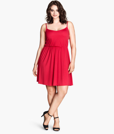+ Jersey Dress - length: mid thigh; sleeve style: spaghetti straps; pattern: plain; waist detail: fitted waist; predominant colour: true red; occasions: casual, evening; fit: fitted at waist & bust; style: fit & flare; neckline: scoop; fibres: polyester/polyamide - 100%; hip detail: soft pleats at hip/draping at hip/flared at hip; sleeve length: sleeveless; pattern type: fabric; texture group: jersey - stretchy/drapey; trends: hot brights; season: s/s 2014