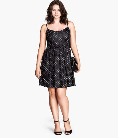 + Jersey Dress - neckline: low v-neck; sleeve style: spaghetti straps; pattern: polka dot; secondary colour: white; predominant colour: black; occasions: casual, evening; length: just above the knee; fit: fitted at waist & bust; style: fit & flare; fibres: polyester/polyamide - 100%; hip detail: adds bulk at the hips; sleeve length: sleeveless; pattern type: fabric; pattern size: light/subtle; texture group: jersey - stretchy/drapey; season: s/s 2014; trends: monochrome