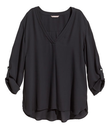 + V Neck Blouse - neckline: v-neck; pattern: plain; length: below the bottom; style: blouse; predominant colour: black; occasions: casual, evening, creative work; fibres: polyester/polyamide - 100%; fit: loose; back detail: longer hem at back than at front; sleeve length: 3/4 length; sleeve style: standard; texture group: sheer fabrics/chiffon/organza etc.; pattern type: fabric; season: s/s 2014