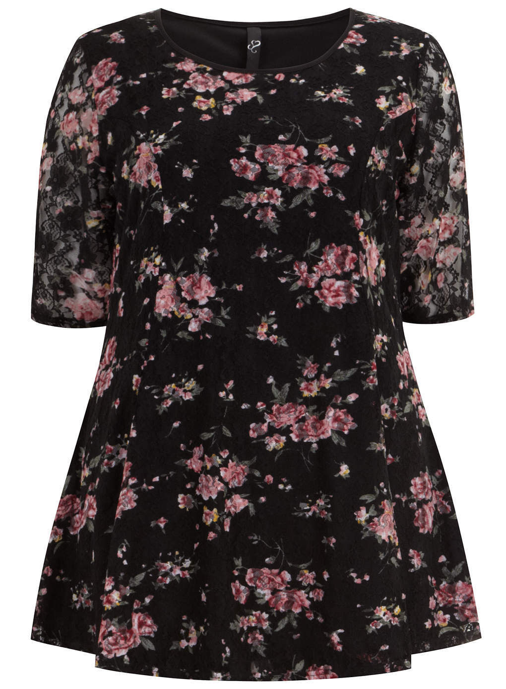 Black Floral Printed Lace Swing Top - neckline: round neck; length: below the bottom; style: t-shirt; predominant colour: black; occasions: casual, creative work; fit: loose; sleeve length: short sleeve; sleeve style: standard; pattern type: fabric; pattern: florals; texture group: jersey - stretchy/drapey; secondary colour: dusky pink; fibres: nylon - stretch; season: s/s 2014; pattern size: big & busy (top)