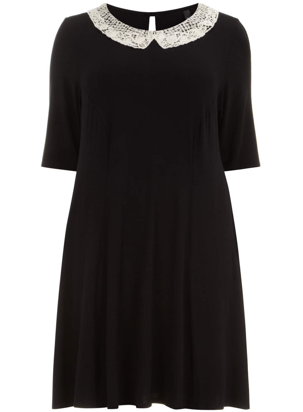 Black Jersey Swing Dress - style: smock; fit: loose; pattern: plain; predominant colour: black; occasions: casual, creative work; length: just above the knee; fibres: viscose/rayon - stretch; neckline: no opening/shirt collar/peter pan; hip detail: subtle/flattering hip detail; back detail: keyhole/peephole detail at back; sleeve length: half sleeve; sleeve style: standard; pattern type: fabric; texture group: jersey - stretchy/drapey; embellishment: lace; season: s/s 2014; wardrobe: highlight; embellishment location: neck