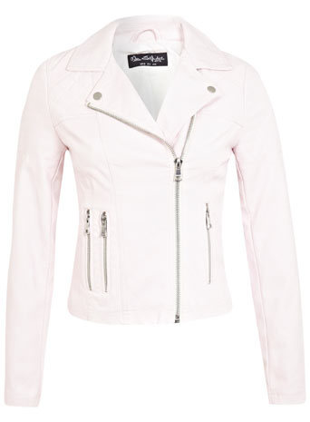 Pastel Pink Biker Jacket - pattern: plain; style: biker; collar: asymmetric biker; fit: slim fit; predominant colour: blush; occasions: casual, evening, creative work; length: standard; sleeve length: long sleeve; sleeve style: standard; texture group: leather; collar break: medium; pattern type: fabric; fibres: pvc/polyurethene - 100%; season: s/s 2014