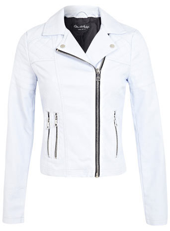 Pastel Blue Biker Jacket - pattern: plain; style: biker; collar: asymmetric biker; fit: slim fit; predominant colour: white; occasions: casual, evening; length: standard; sleeve length: long sleeve; sleeve style: standard; texture group: leather; collar break: medium; pattern type: fabric; embellishment: quilted; fibres: pvc/polyurethene - 100%; season: s/s 2014