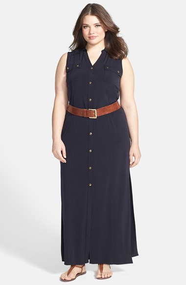 Sleeveless Matte Jersey Maxi Shirtdress (Plus Size) - pattern: plain; sleeve style: sleeveless; style: maxi dress; length: ankle length; bust detail: pocket detail at bust; waist detail: belted waist/tie at waist/drawstring; predominant colour: navy; occasions: casual; fit: body skimming; neckline: collarstand & mandarin with v-neck; fibres: polyester/polyamide - stretch; sleeve length: sleeveless; pattern type: fabric; texture group: jersey - stretchy/drapey; season: s/s 2014